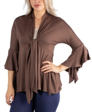 24Seven Comfort Apparel Three Quarter Tie Front Ruffle Cardigan