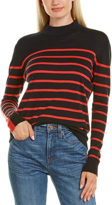 Autumn Cashmere Cotton By Breton Stripe Mock Pullover