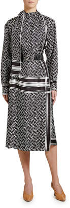 Bottega Veneta Twill Graphic Print Wrap Dress
