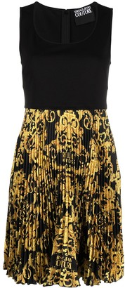Versace Jeans Couture Barocco-print sleeveless pleated short dress
