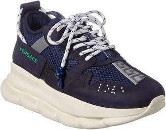 Versace Chain Reaction Leather-Trim Sneaker