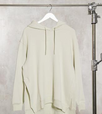 Weekday Marcie organic cotton longline hoodie in dusty green grey