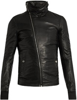 Rick Owens Asymmetric-zip Hooded Leather Jacket