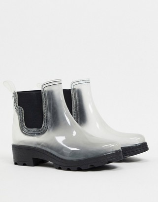 London Rebel chunky chelsea welly in clear