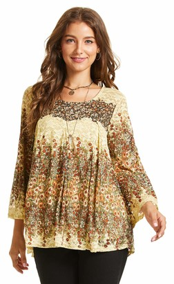 SONJA BETRO Women's Red Floral Printed Lace Pleated Detail 3/4 Bell Sleeve Tunic Top Medium RED Print