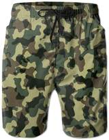 ZhongXiaoStyle Green Camouflage Cool Men's Shorts Swim Trunks