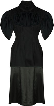 Richard Malone Short-Sleeve Draped Midi Dress