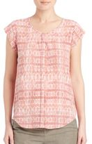 Joie Iva Silk Ikat Button-Front Top