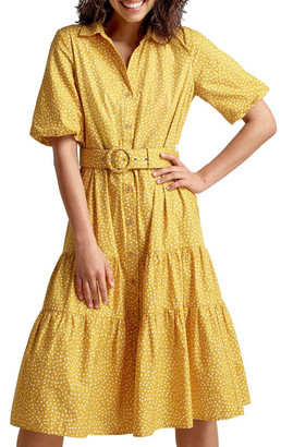 French Connection Puff Sleeve Belted Dress