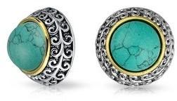 Bling Jewelry Bali 2 Tone Imitation Gemstone Dome Clip On Earrings Non Pierced Ear