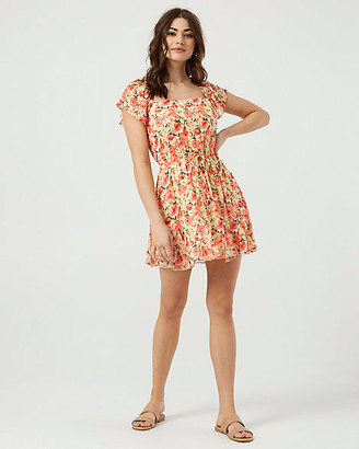 Le Château Floral Print Chiffon Square Neck Dress