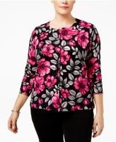 Karen Scott Plus Size Printed Cardigan