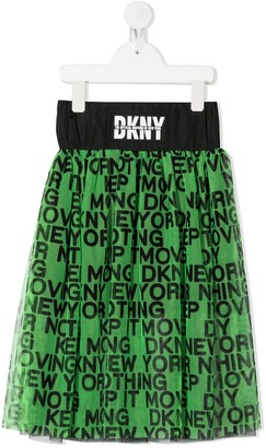 DKNY Slogan Embroidered Skirt