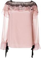 Alberta Ferretti lace-trimmed blouse - women - Silk/Polyamide - 42