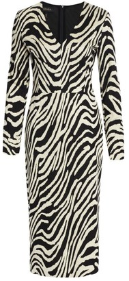Escada V-Neck Jacquard Zebra-Print Midi Dress
