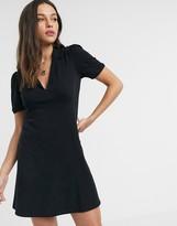 Asos Design DESIGN mini tea dress with collar in black