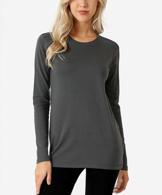 Ash Zenana Women's Tee Shirts  Gray Long-Sleeve Crewneck Tee - Women & Plus