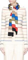 Sonia Rykiel Detachable scarf trompe l'ail stripe wool sweater