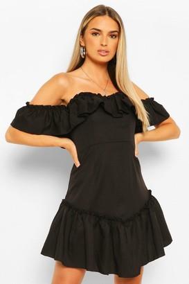 boohoo Off The Shoulder Frill Hem Swing Dress