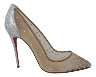 Christian Louboutin Degrastrass Silver Cloth Heels