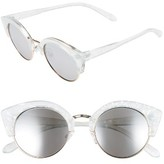 BP Women's 46Mm Round Cat Eye Sunglasses - Marble Clear/ Silver