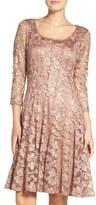 Chetta B Lace Fit & Flare Dress
