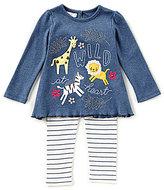Mud Pie Baby Girls 9-18 Months Wild At Heart Long-Sleeve Tee & Striped Leggings Set