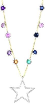 Meira T 14K Yellow & White Gold, Diamond & Multi-Stone Star Pendant Necklace