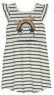 Epic Threads Little Girls Short Flutter Sleeve Cinched Waist Heart All Over Print Dress