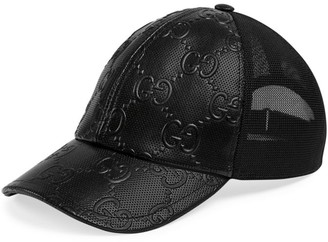 Gucci Perforated GG Embossed Leather Trucker Cap
