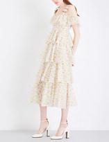 Alexachung Tiered garden-print cotton-voile dress