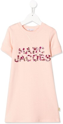 Little Marc Jacobs gemstone logo embellished T-shirt dress