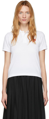 Comme des Garcons White Heart Patch Polo