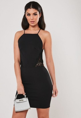 Missguided Petite Black Lace Back Cut Out Mini Dress