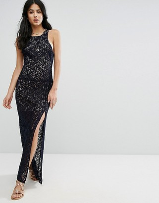 Free People Lace Column Maxi Party Dress-Navy