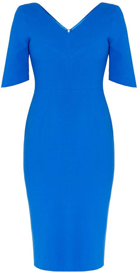 Goat Carmen V-Neck Sapphire Dress