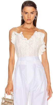 Magda Butrym Harlem Lace Corset Top in White | FWRD