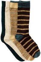 Lucky Brand Dash Stripes & Marl Crew Socks - Pack of 4