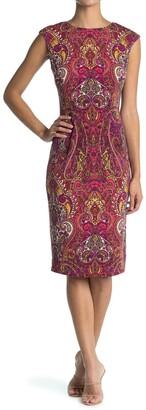 London Times Cap Sleeve Midi Dress