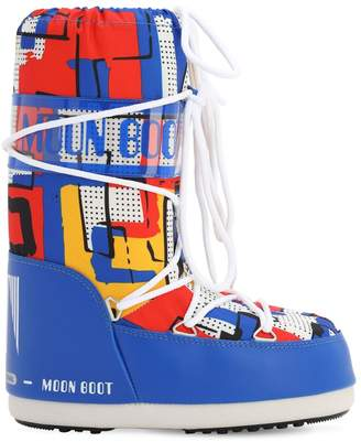 Moon Boot PRINTED NYLON SNOW BOOTS