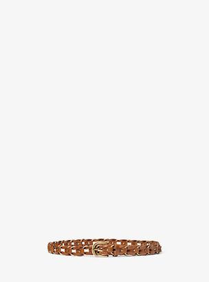 MICHAEL Michael Kors MK Braided Leather Belt - Luggage Brown - Michael Kors
