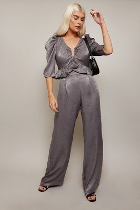 Little Mistress Influence Charcoal Satin Wide-Leg Trousers Co-ord