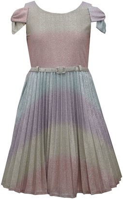 Bonnie Jean Girls 7-16 Bow Sleeve Glitter Ombre Dress with Belt