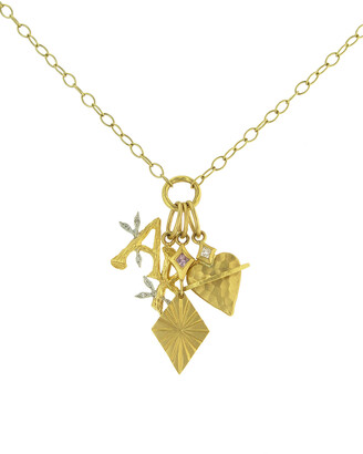 Cathy Waterman Charmed I'm Sure Charm Necklace in 22K Gold