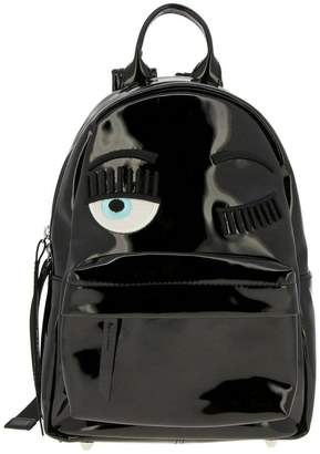 Chiara Ferragni Backpack Small Flirting Backpack In Patent Leather With Embroidery
