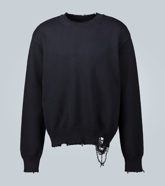 Maison Margiela Distressed cotton knitted sweater