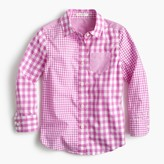 J.Crew Girls' gingham mash-up shirt