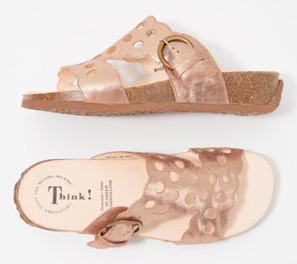 Think! Leather Cut-Out T-Strap Sandals - Mizzi