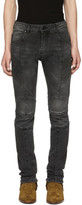 Pierre Balmain Black Faded Biker Jeans