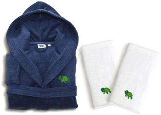 Linum Home Textiles Kids Turtle 3-piece Terry Hooded Bathrobe & Hand Towel Set